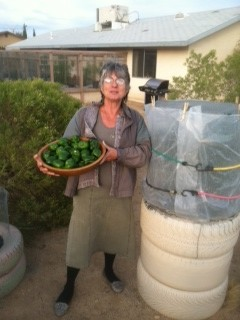 Janet with her Goodyear Garden and its harvest